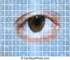binary code and eye
