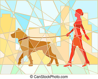 Dog walker mosaic
