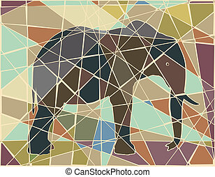 Elephant mosaic - Editable vector colorful mosaic...