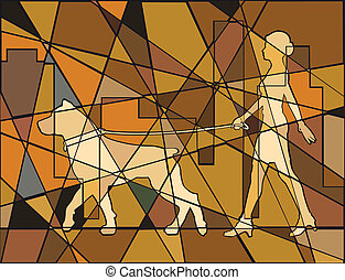 Woman and dog - Editable vector mosaic illustration of a...