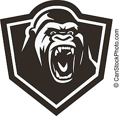 Gorilla head - Vector illustration wild animal collection