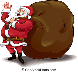 Santa and sack - Vector illustration Christmas theme...
