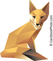 stylish sitting fox - Vector illustration wild animal...