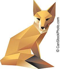 stylish sitting fox - Vector illustration wild animal...