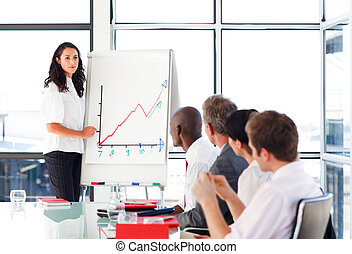 Businessswoman reporting to sales figures in a meeting -...