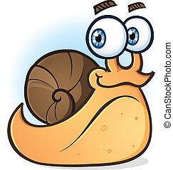 Snail Smiling Cartoon Character - A happy orange colored...