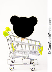 Black wood clip and shopping cart