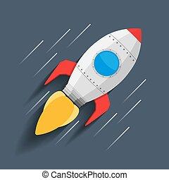 Rocket in Space - Rocket flynig in space, vector eps10...