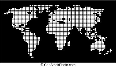 world map on black background