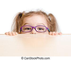 面白い, メガネ, の後ろ, テーブル, 女の子, 隠ぺい