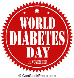 World Diabetes Day-label - Red label with text World...