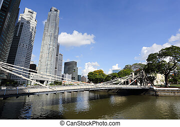 Singapore River with the skyline of Raffles Place -...