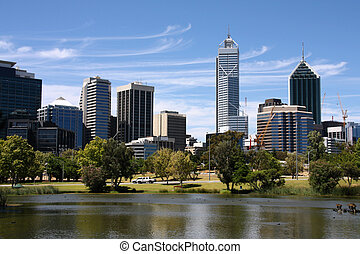 Perth view from John Oldany park. Australian city water...