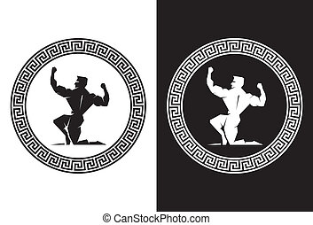 Hercules and Greek Key back view - Illustration of Hercules...
