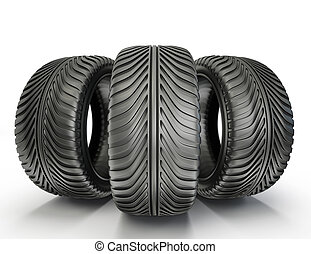 tyres - sport tyres isolated on a white background