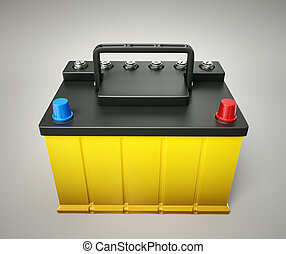 car battery isolated on a grey background
