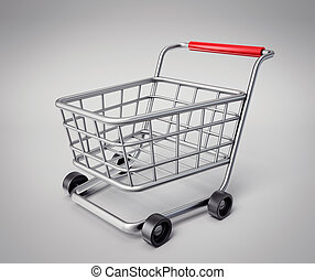 shopping cart isolated on a grey background