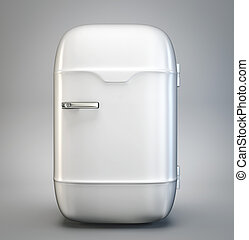 fridge - retro fridge isolated on a grey background