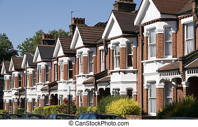 English Homes - Row of Typical English Terraced Houses at...