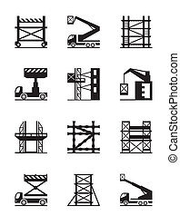 Scaffolding and construction cranes icon set - vector...