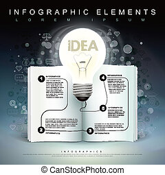 bulb and book flow chart infographics - creative template...