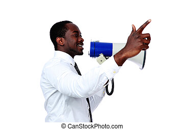 African man shouting through a megaphone isolated on a white...