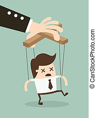 Marionette - Vector illustration businessman marionette on...