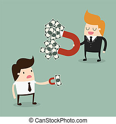 Magnet - Businessman attracts money with a large magnet
