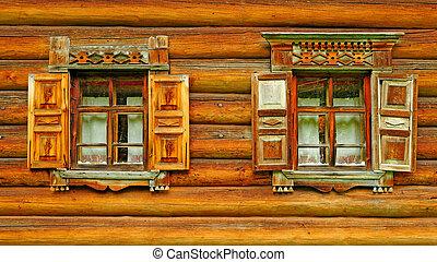 Two wooden window