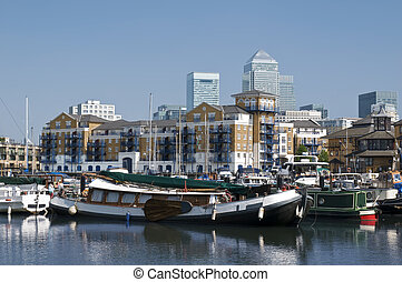 Limehouse Basin,London - General view of Limehouse...