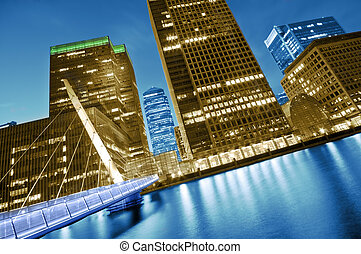 Futuristic London - Canary Wharf is a modern business and...