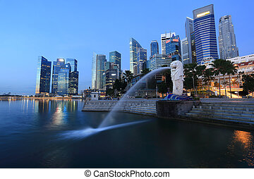 The Merlion fountain in front of the Marina Bay - SINGAPORE...