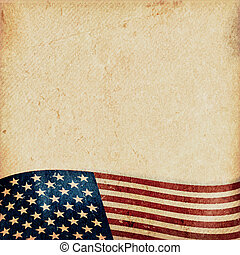 Grunge background with wavy USA flag - Vintage style grunge...