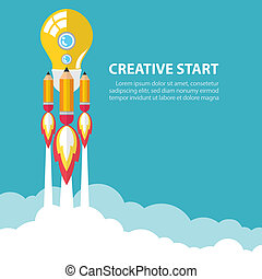 Creative start up - Art launch light bulb and pencil rocket...