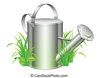 Watering can. - Metal watering can on green grass.