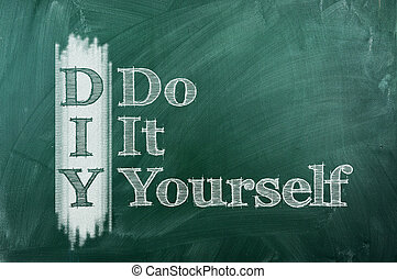 Do It Yourself - DIY - Do It Yourself acronym on green...
