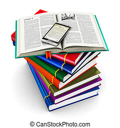 Smartphone and stack of color books - Electronic book media,...