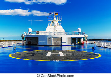 Helipad on upper deck of ship - Helipad for helicopter on...