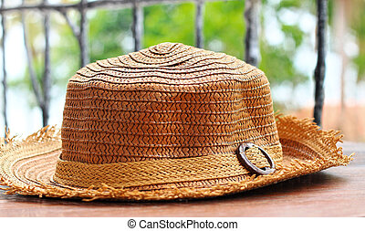 Close up of straw hats