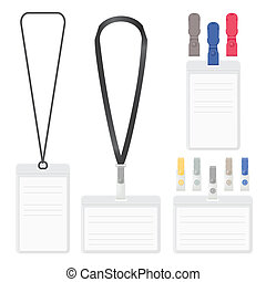 Badge, clip and lanyard vector templates