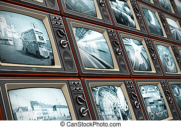 Wall of old TV screens - Creative abstract television...