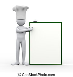 3d chef pointing to blank board