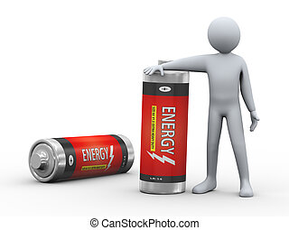 3d man with batteries - 3d illustration of person standing...