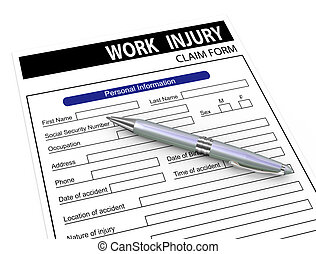 3d pen and work injury claim form - 3d illustration of pen...