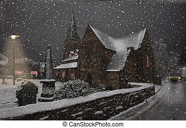 Winter Snow - On a winter evening, snow falls on St....
