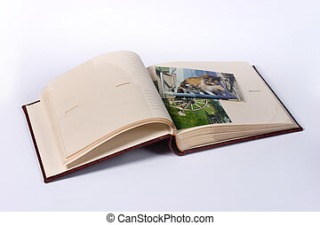 photograph album - object series: open photograph album over...