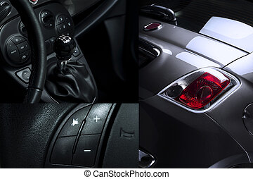 Car Interior and Exterior Collage showing shift know...