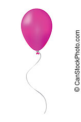 Pink balloon isolated on white background