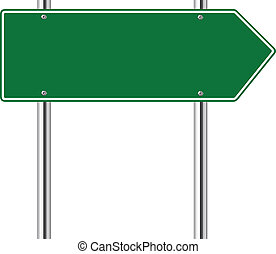 Green arrow to the right road sign on white