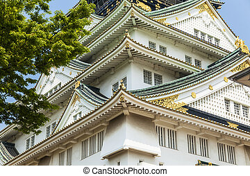Osaka Castle in Japan, close-up details.